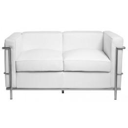 D2.DESIGN Sofa 2-osobowa Kubik biała skóra TP