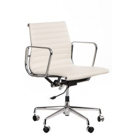 D2.DESIGN Fotel biurowy CH1171T biała skóra,chrom