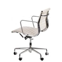 D2.DESIGN Fotel Biurowy CH1171T Biała Skora, Chrom