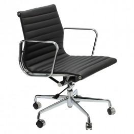 D2.DESIGN Fotel Biurowy CH1171T Czarna Skóra, Chrom