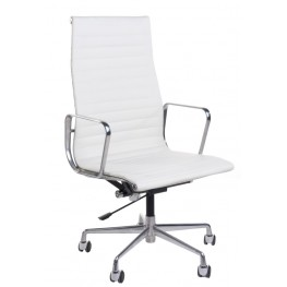 D2.DESIGN Fotel biurowy CH1191T - Biała skóra/Chrom