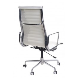 D2.DESIGN Fotel biurowy CH1191T biała skóra/chrom