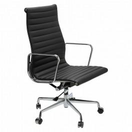 D2.DESIGN Fotel biurowy CH1191T czarna skóra/chrom