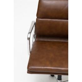D2.DESIGN Fotel biurowy CH2171 brązowa skóra chrom