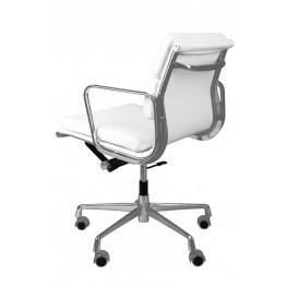 D2.DESIGN Fotel biurowy CH2171T  - Skóra - Biały / Chrom