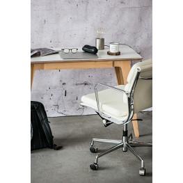 D2.DESIGN Fotel biurowy CH2171T biała skóra chrom