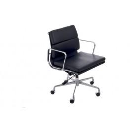 D2.DESIGN Fotel biurowy CH2171T - Czarna skóra - Chrom