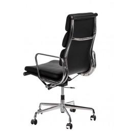 D2.DESIGN Fotel biurowy CH2191T czarna skóra chrom