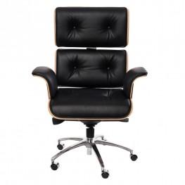 D2.DESIGN Fotel biurowy VIP czarna skóra,orzechowy fornir, chrom