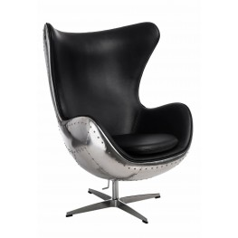 D2.DESIGN Fotel Jajo aluminium czarne PU