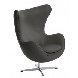 D2.DESIGN Fotel Jajo szara skóra 96 Premium