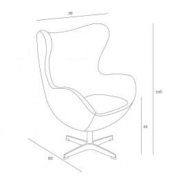 D2.DESIGN Fotel Jajo szary ciemny kaszmir 41 Premium