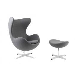D2.DESIGN Fotel Jajo z podnóżkiem kaszmir 42 szary jasny Premium