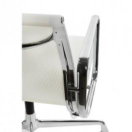D2.DESIGN Fotel konf. CH1081T,biała siateczka,chro m