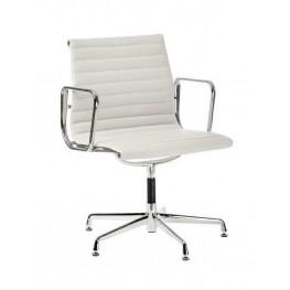 D2.DESIGN Fotel konf. CH1081T  - Biała skóra - Chromowane nogi