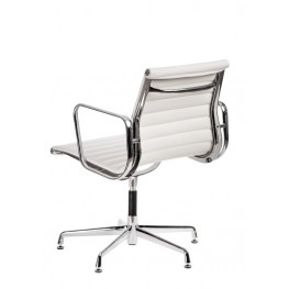 D2.DESIGN Fotel konf. CH1081T,biała skóra ,chr