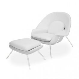 D2.DESIGN Fotel z podnóżkiem Snug biały