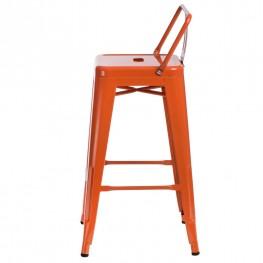 D2.DESIGN Hoker Paris 66 cm Short Back Pomarańczowy insp. Tolix