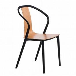 INTESI Krzesło Bella Czarne / Naturalne / Brązowe