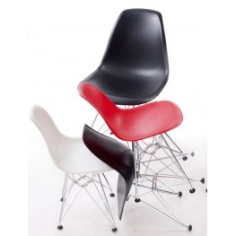 D2.DESIGN Krzesło JuniorP016 - Czarne  - Nogi chromowane