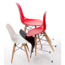 D2.DESIGN Krzesło JuniorP016 - Czarne - Drewniane nogi