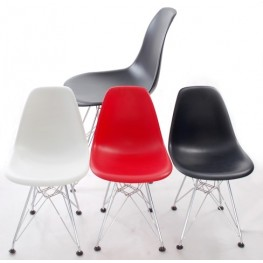 D2.DESIGN Krzesło JuniorP016 - Czerwone - Chromowane nogi
