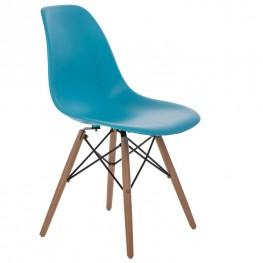 D2.DESIGN Krzesło P016W PP niebieskie, drewniane nogi