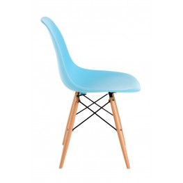 D2.DESIGN Krzesło P016W PP ocean blue, drewniane nogi