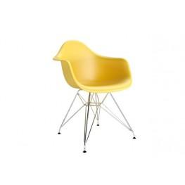 D2.DESIGN Krzesło P018 PP oliwkowe, chrom nogi