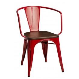 D2.DESIGN Krzesło Paris Arms Wood czerw. sosna orz ech