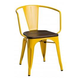 D2.DESIGN Krzesło Paris Arms Wood żółte sosna szcz otkowana