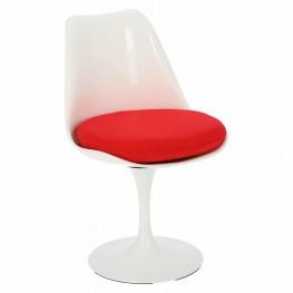 D2.DESIGN Krzesło Tul białe/czerwona poduszka