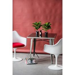 D2.DESIGN Krzesło TulAr białe/czerwona poduszka