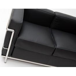 D2.DESIGN Sofa 2-osobowa Kubik czarna skóra TP