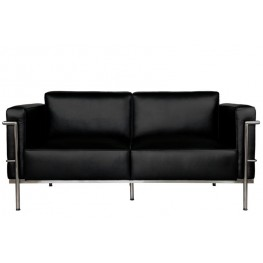 D2.DESIGN Sofa 2-osobowa Soft GC czarna skóra