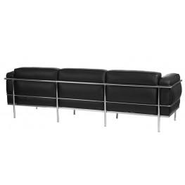 D2.DESIGN Sofa 3-osobowa Soft GC czarna skóra