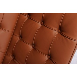 D2.DESIGN Sofa BA2 2 osobowa, jasny brąz skóra naturalna