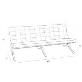 D2.DESIGN Sofa BA3 3 osobowa, jasny brąz skóra naturalna