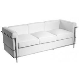 D2.DESIGN Sofa trzyosobowa Kubik biała skóra TP