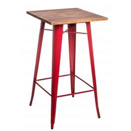 D2.DESIGN Stół barowy Paris Wood czerwony sosna