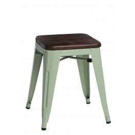 D2.DESIGN Stołek Paris Wood zielony sosna szczotko