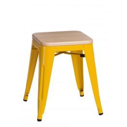 D2.DESIGN Stołek Paris Wood żółty sosna naturalna
