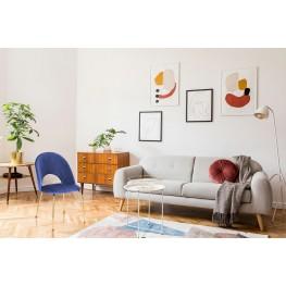 INTESI Krzesło Solie Velvet niebieskie/złote