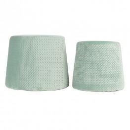 INTESI Zestaw 2 puf Sabel Velvet zielone jasne