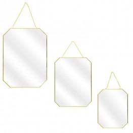 INTESI Zestaw 3 lusterek Carre Gold