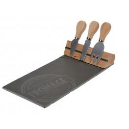INTESI Zestaw deska do sera i 3 noże Rock