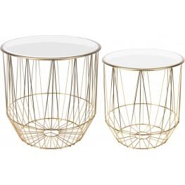 INTESI Zestaw stolików Glamour złoty/biały