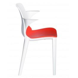RESOL Krzesło z podł. Lyza biało - czerwone