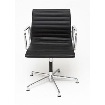 D2.DESIGN Fotel konf. CH1081T,czarna skóra ,chrom