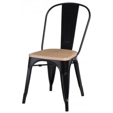 D2.DESIGN Krzesło Paris Wood czarne sosna naturaln